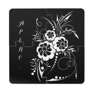 Explosión floral… posavasos de puzzle