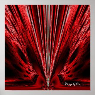 Explosión - fractal rojo del blanco de n posters