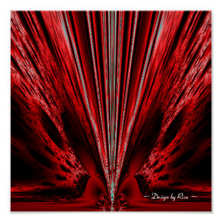 Explosión - fractal rojo del blanco de n póster