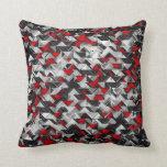 Explosión geométrica negra y roja almohadas