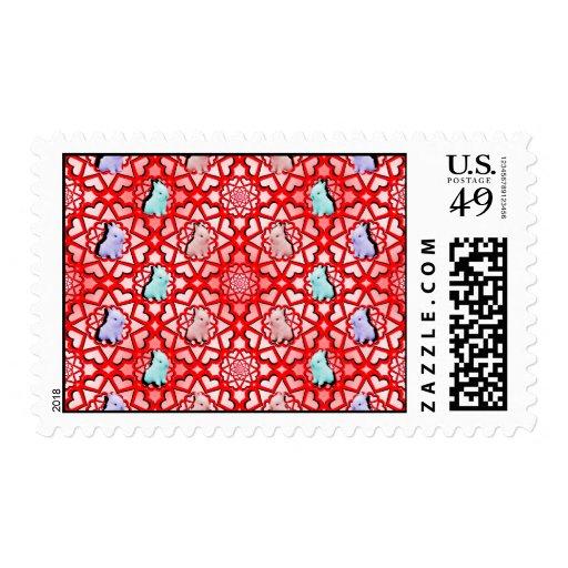 Explosión grande de los corazones del conejito del timbres postales