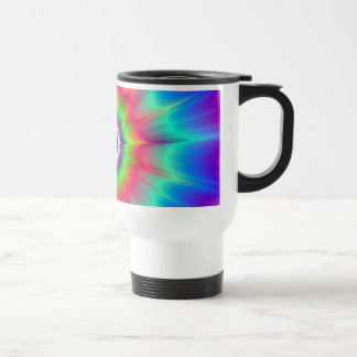 Explosion in Blue Red Green and Violet Travel Mug