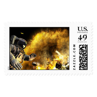 Explosion in open space stamp