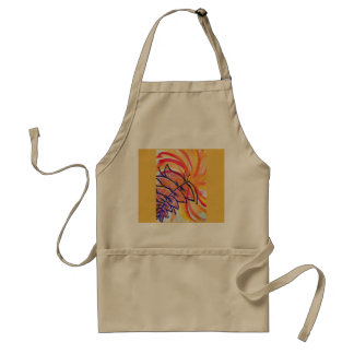 Explosion in orange and yellow and purple feather adult apron