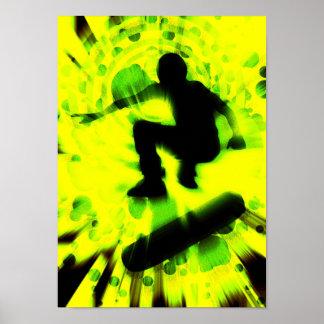 explosión ligera del monopatín póster