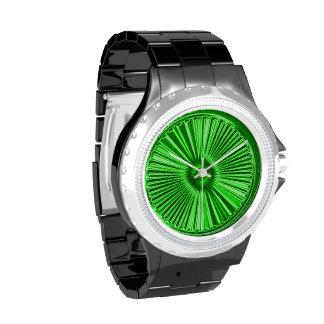 ¡Explosión metálica verde de neón de la cal! Relojes De Pulsera