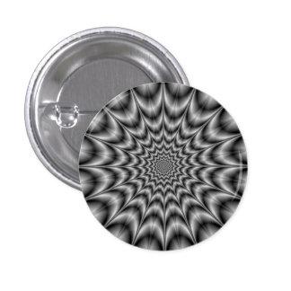 Explosión psicodélica en botón blanco y negro pin