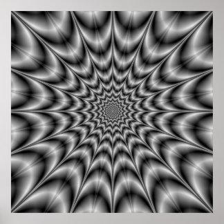 Explosión psicodélica en poster blanco y negro
