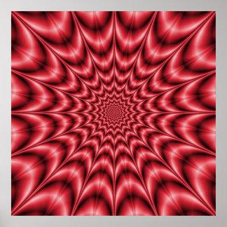 Explosión psicodélica en poster rojo