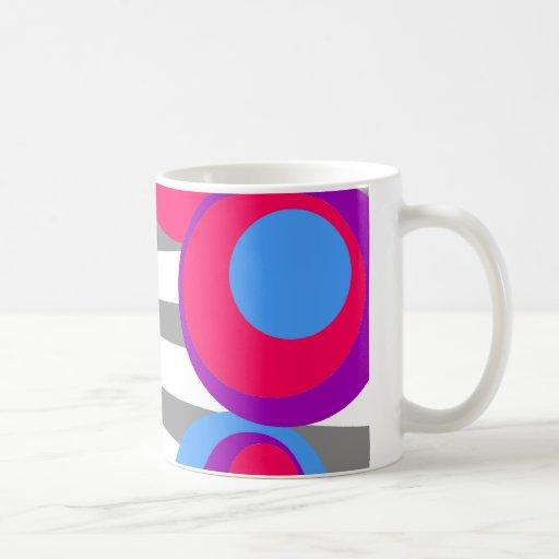 explosión púrpura azul rosada del gris de los punt taza básica blanca