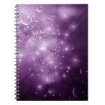 Explosión púrpura de la galaxia libros de apuntes con espiral