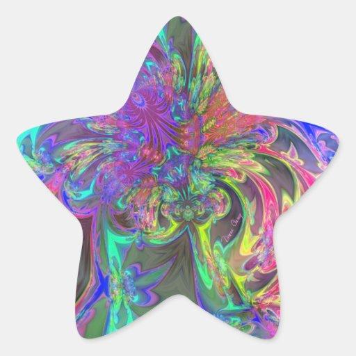 Explosión que brilla intensamente del color - calcomanías forma de estrella