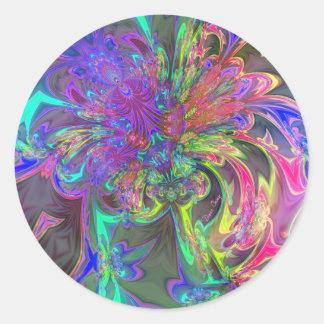 Explosión que brilla intensamente del color - pegatina redonda
