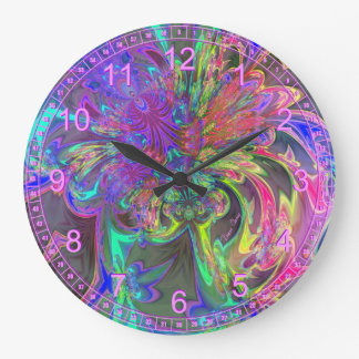 Explosión que brilla intensamente del color - viol reloj redondo grande
