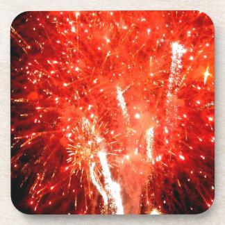 Explosion Red Beverage Coaster