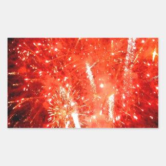 Explosion Red Rectangular Sticker