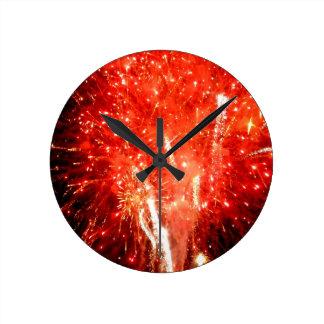 Explosion Red Round Clock