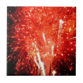 Explosion Red Small Square Tile
