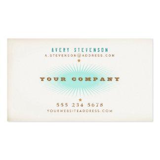 Explosión retra de la turquesa de la tipografía tarjetas de visita