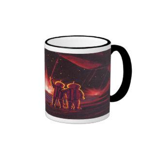 Explosión roja extranjera del planeta de la cienci taza de café