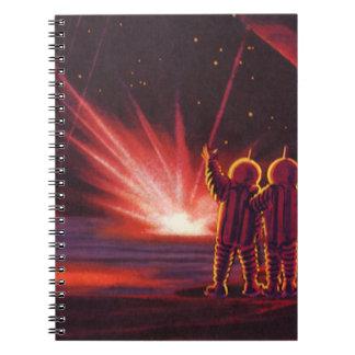 Explosión roja extranjera del planeta de la spiral notebook