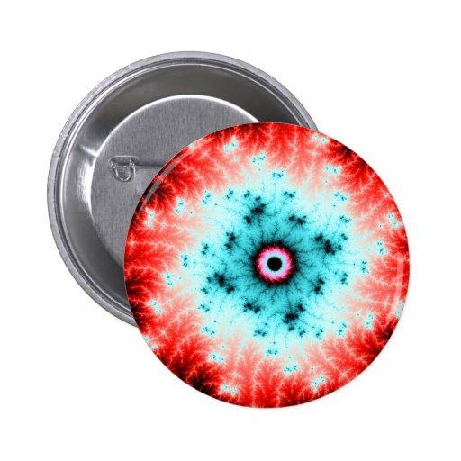 Explosión roja y azul de Big Bang - del fractal Pin Redondo 5 Cm
