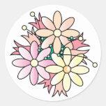 Explosión rosada de la flor etiqueta redonda