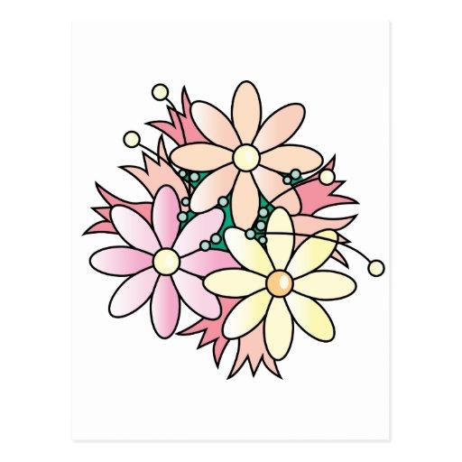 Explosión rosada de la flor tarjetas postales