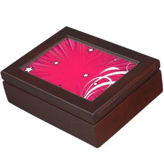 Explosión rosada del estilo del cómic con las cajas de recuerdos