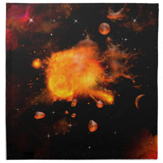 Explosión un planeta servilletas imprimidas