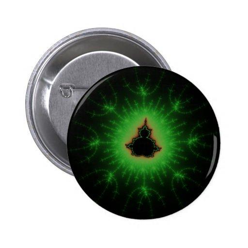 Explosión verde de Mandelbrot Pin Redondo 5 Cm