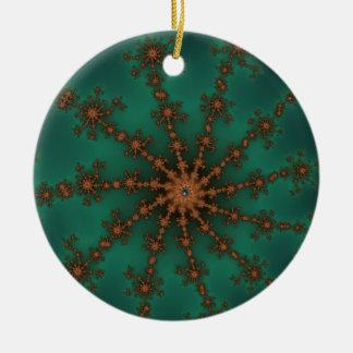 Explosión verde del acontecimiento adorno navideño redondo de cerámica
