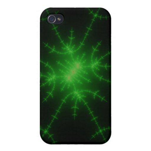 Explosión verde del fractal que brilla intensament iPhone 4 fundas
