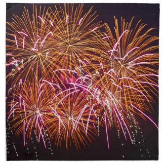 Explosiones anaranjadas del flor - fuegos servilletas