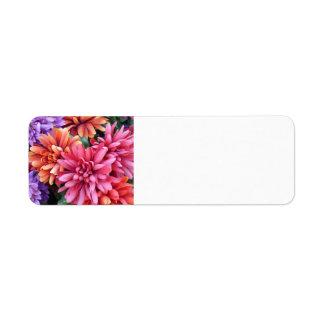Explosiones de la flor etiqueta de remite