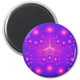 Explosiones púrpuras y rosadas del fractal: imán redondo 5 cm
