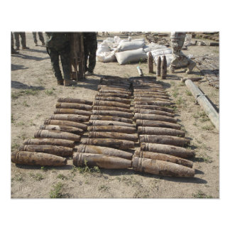 Explosive devices are identified and inventorie photographic print