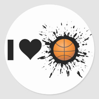 Explosive I Love Basketball Classic Round Sticker