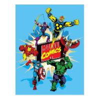 Explosive Marvel Comics Heroes Postcard