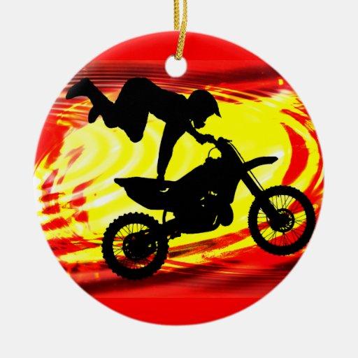 Explosive Motocross Jump Ceramic Ornament
