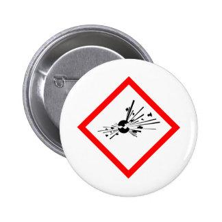 Explosive Warning Sign 2 Inch Round Button