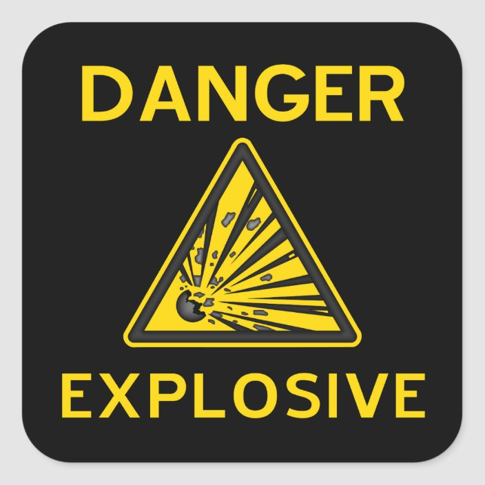 Danger Warning Explosive Sign Sticker