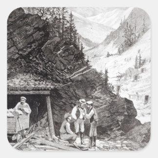Explotación minera del oro y de la plata pegatina cuadradas