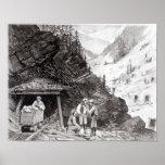 Explotación minera del oro y de la plata póster