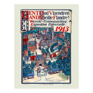 Expo 1913 del mundo Gante Flandes vieja histórica Postales