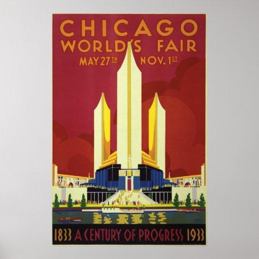 Expo 1933 de la feria de mundo de Chicago Póster