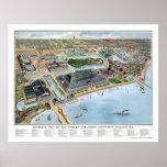 Expo colombina de Chicago, mapa panorámico de IL - Póster