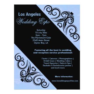Expo del boda del corazón de los remolinos (azul) tarjetas informativas