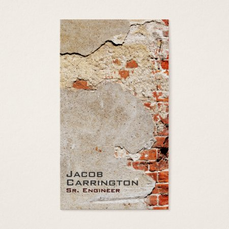 Exposed Cracked Red Bricks and Mortar Wall Brick Layer Business Cards Template
