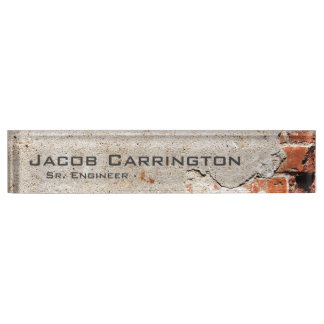 Exposed Brick and Mortar Name Plate